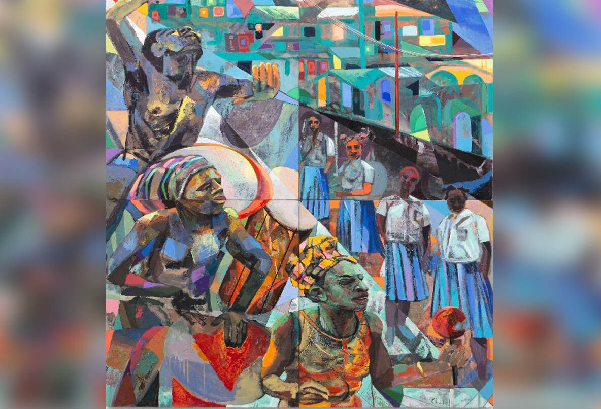 """Che Lovelace's 2021 painting """"Nyabinghi Drummers"""""""
