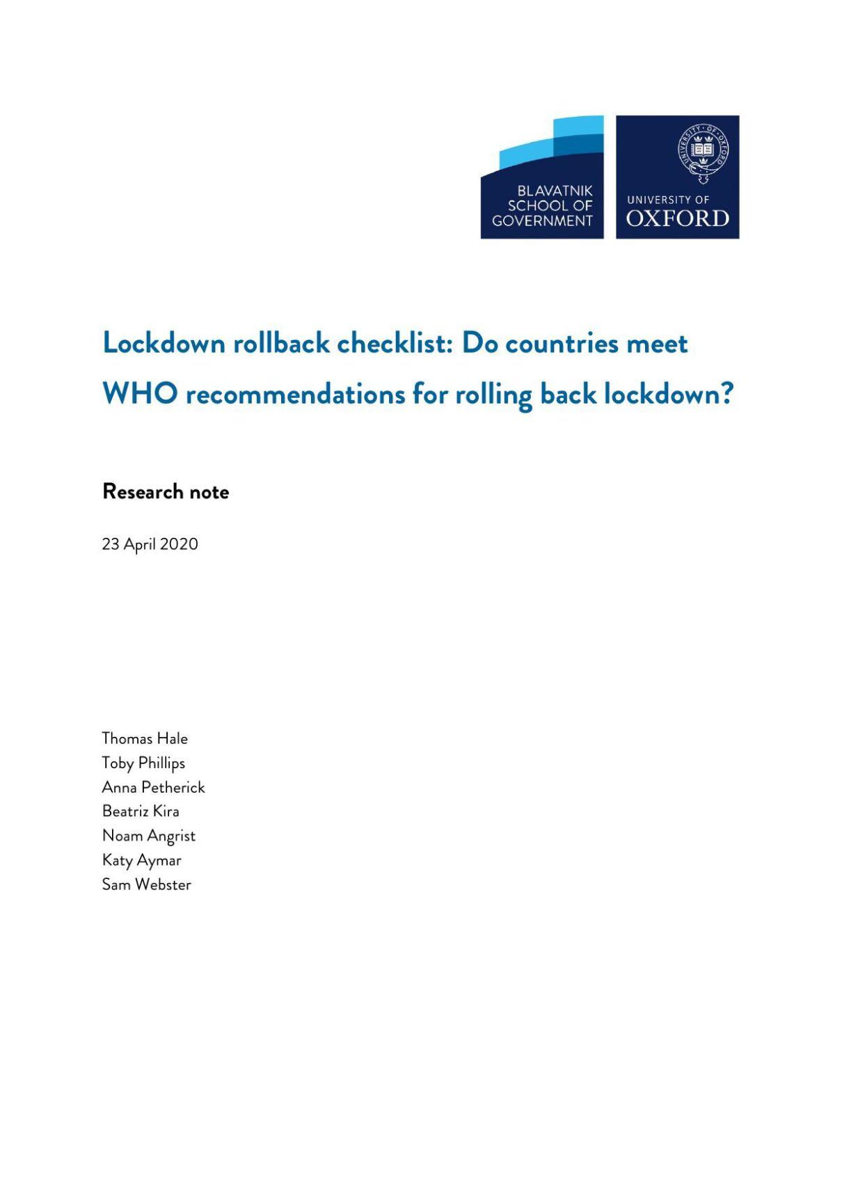 Lockdown rollback checklist