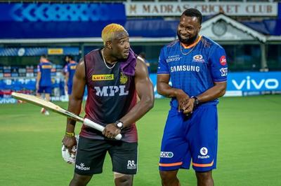 Kieron Pollard with Andre Russell