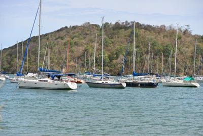 Yachts anchored at Small Boats in Chaguaramas