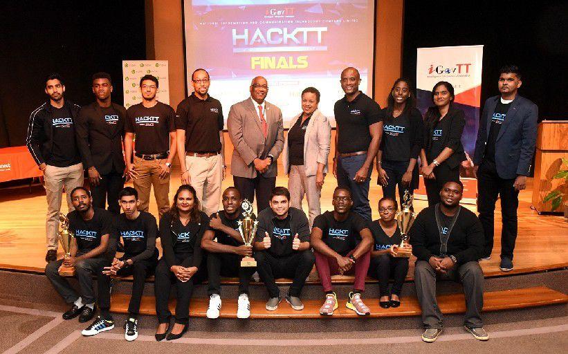 Proud members of the three winning teams of iGovTT's inaugural hackathon