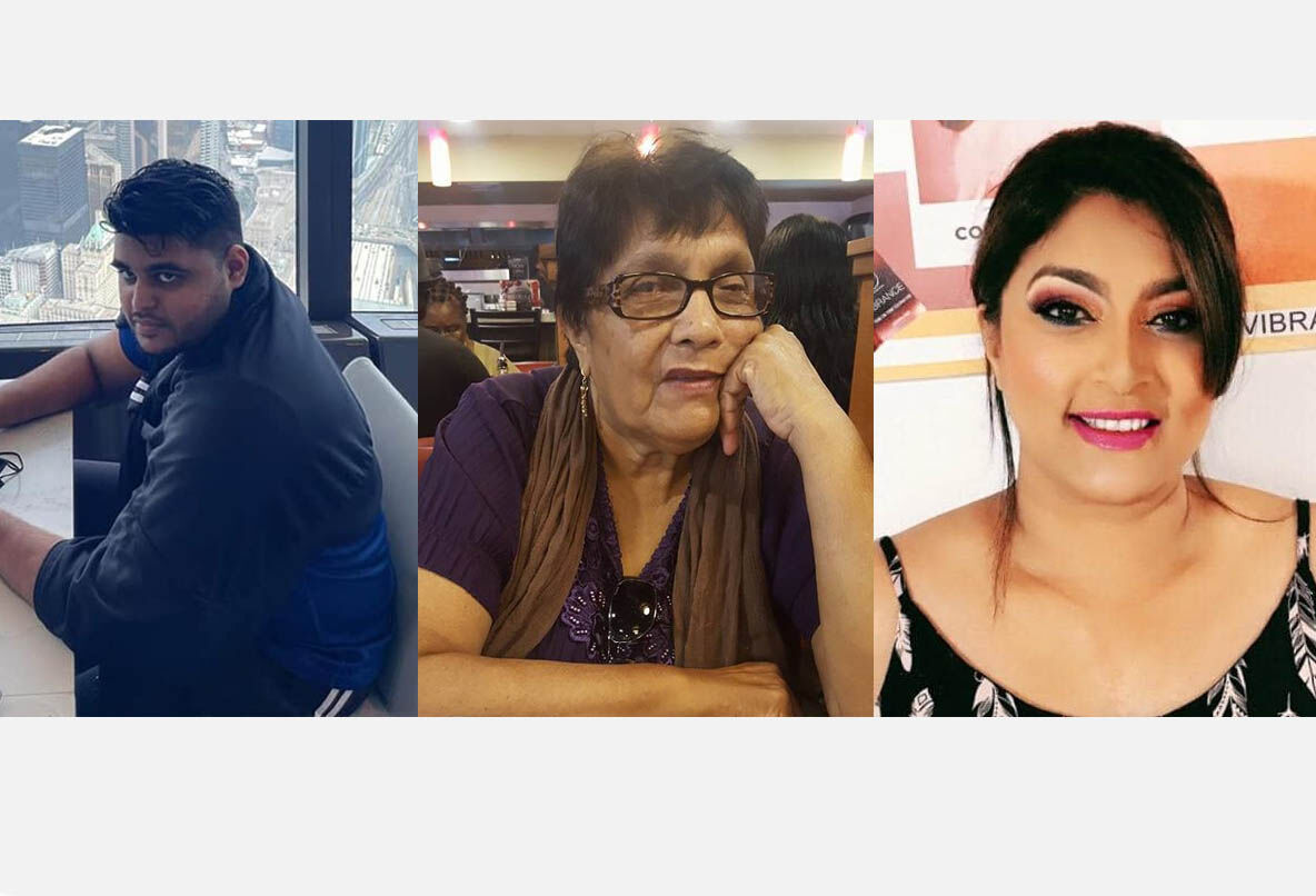 Victims Zackary Shrikan David, Kumari Kowlessar-Timal and Radeshka Timal