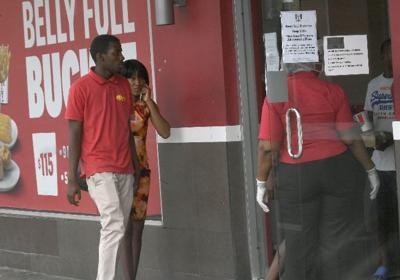 Customers enter KFC