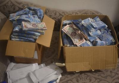 Seized: Boxes of money