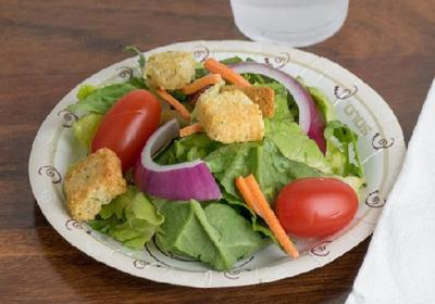 A plant based disposable plate.
