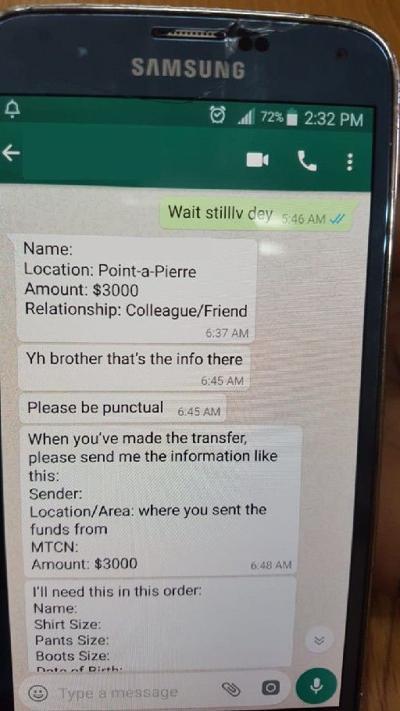 An image of a WhatsApp conversation