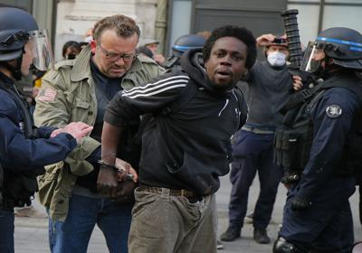protester is detained