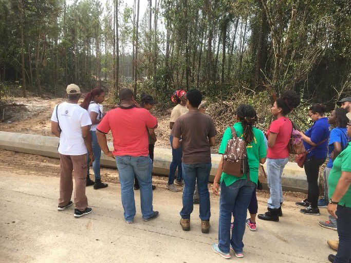 Community  members gather at Aripo