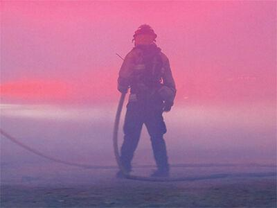 A lone firefighter
