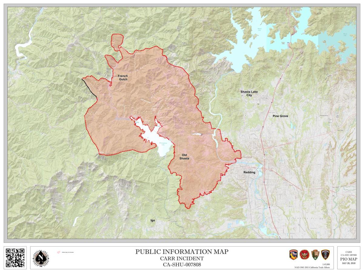 updated carr fire map Carr Fire Map Trinityjournal Com
