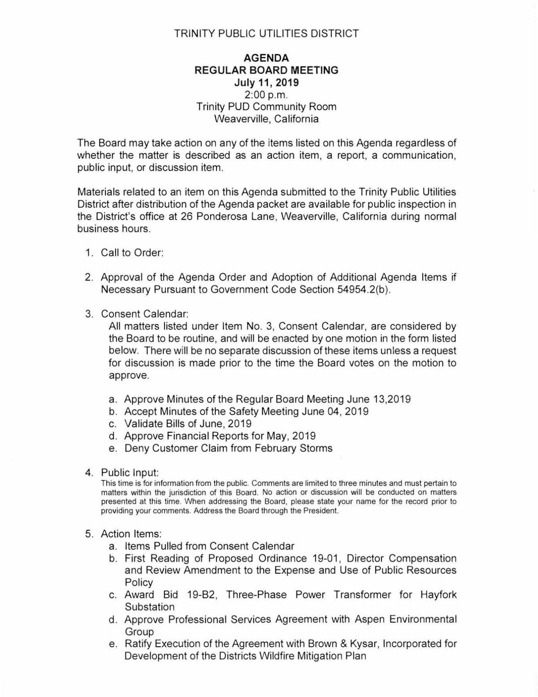 TPUD, July 11 | Government Calendar Agendas | trinityjournal com