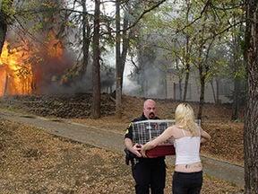 Fire destroys home on Center Street