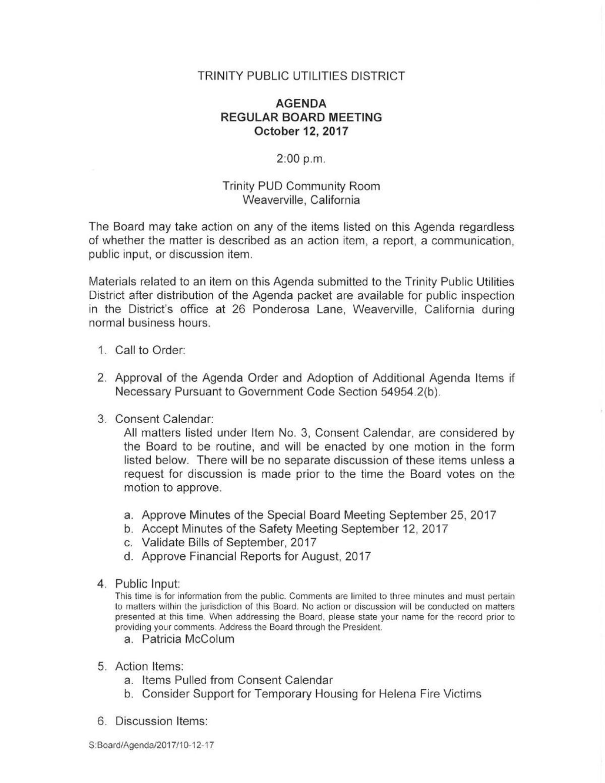 trinity public utilities district oct 12 government calendar