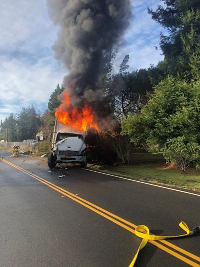 Fire destroys truck