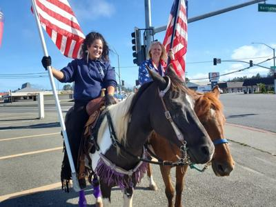 Riding with flags