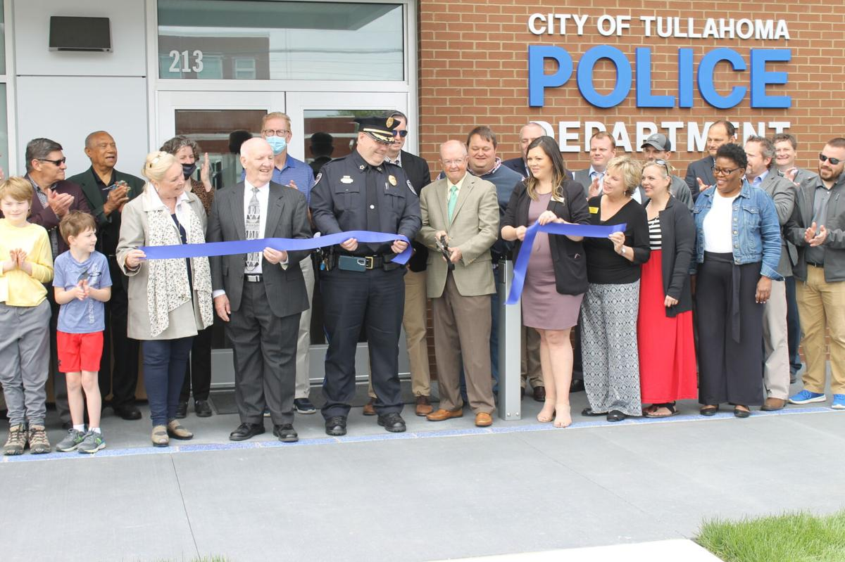 Mayor Police Station Cutting Ribbon