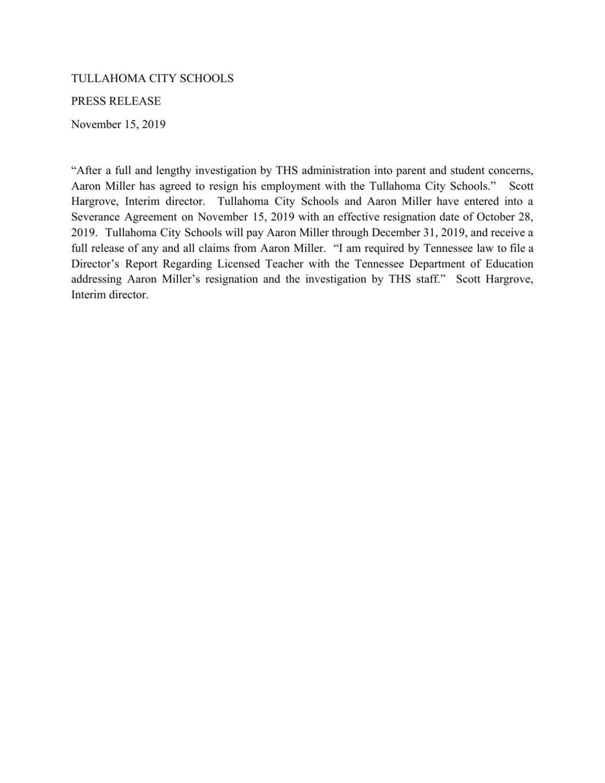 Aaron Miller Press Release
