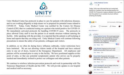 Unity Medical Center COVID-19