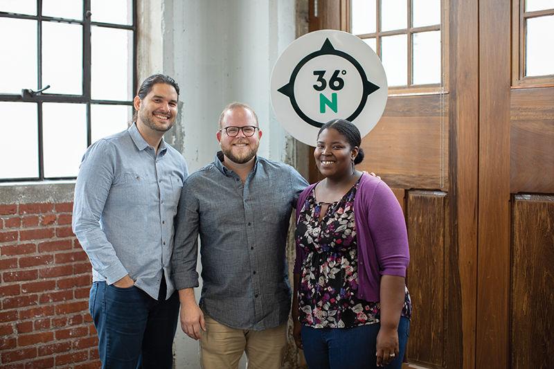 Adam Recvlohe, Aaron Bolzle and Nashaira Ofori at 36 Degrees North