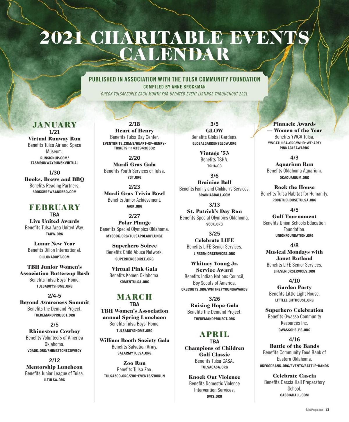 2021 charitable events calendar