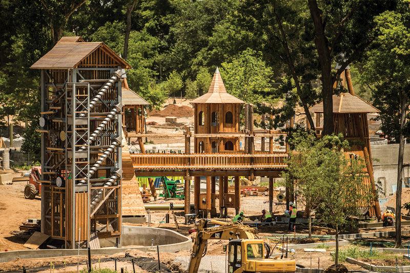 Playground, pond take shape at Gathering Place
