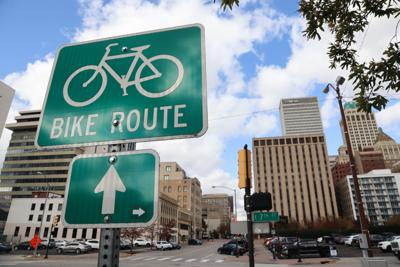 Downtown bike sign