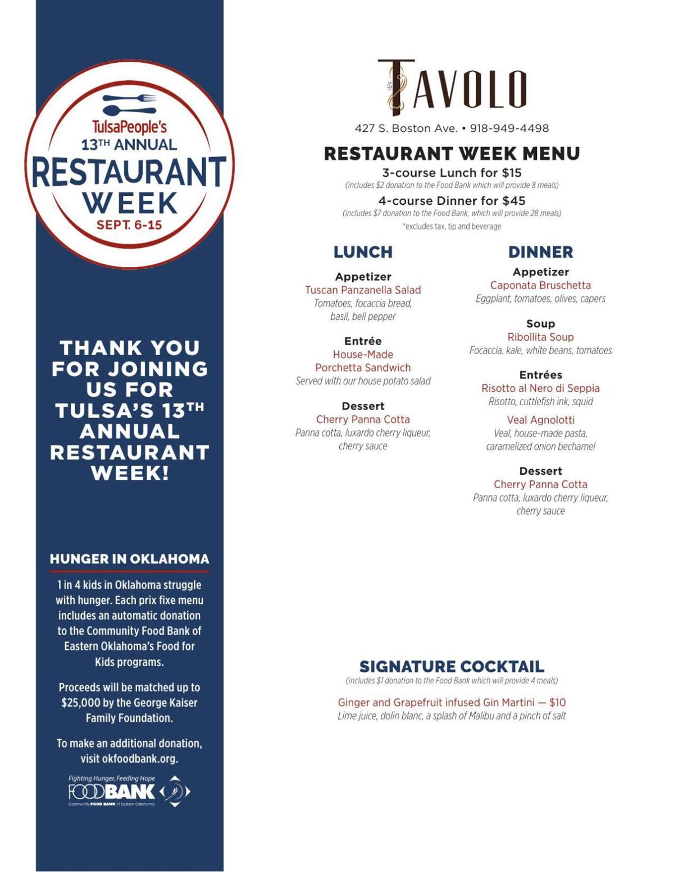 Tavolo menu