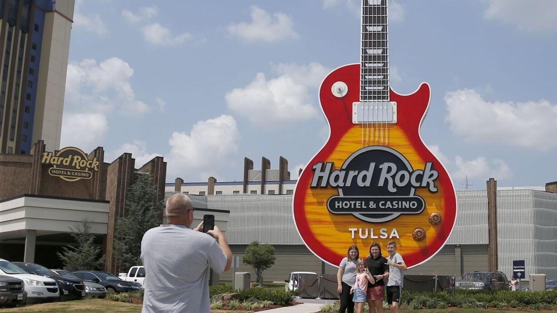 New 65-foot Gibson Les Paul guitar monument stands tall outside Hard Rock Hotel & Casino Tulsa