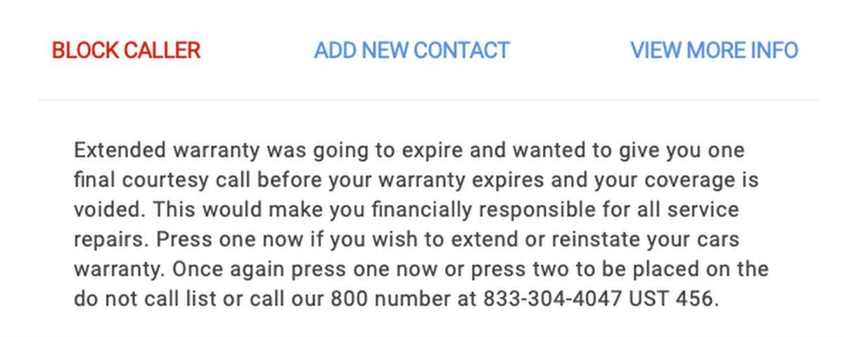 Car Warranty spam call