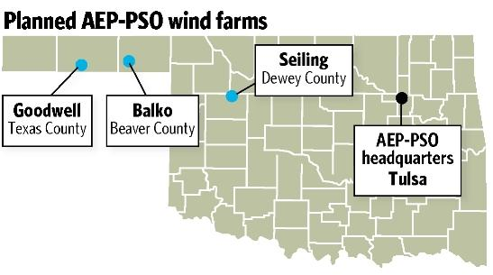 Wind Farms In Oklahoma Map.Three Aep Pso Wind Power Contracts Get Nod Tulsaworld Com