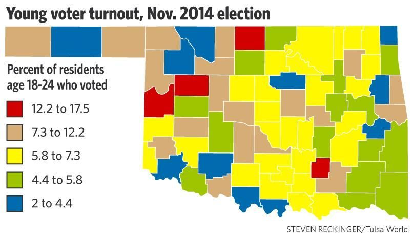 Young voter turnout, Nov. 2014 election map