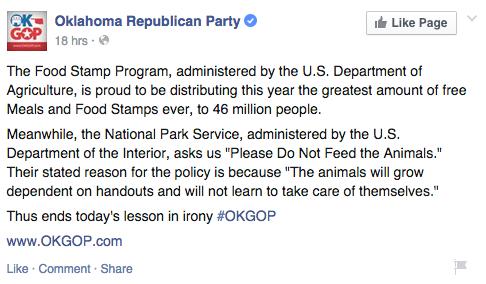 Oklahoma Republican Party facebook screengrab
