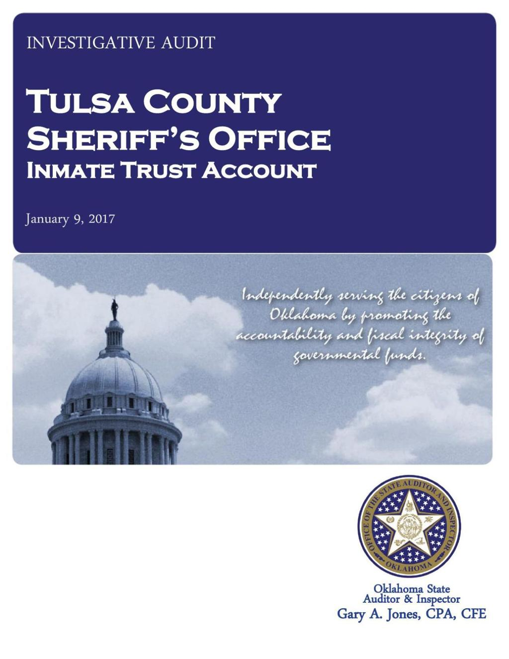 Audit: Tulsa Jail inmate account records so poor