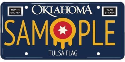 Tulsa flag license plate