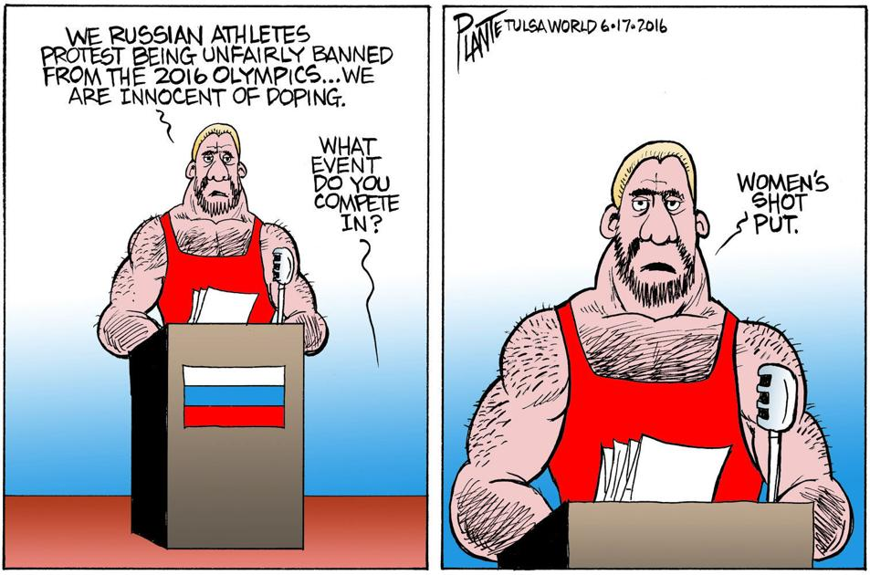 Bruce Plante Cartoon Russian Doping Editorial
