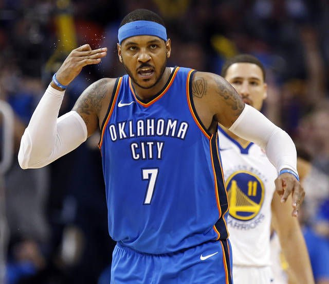 Oklahoma City Thunder's Carmelo Anthony passing on shots ...