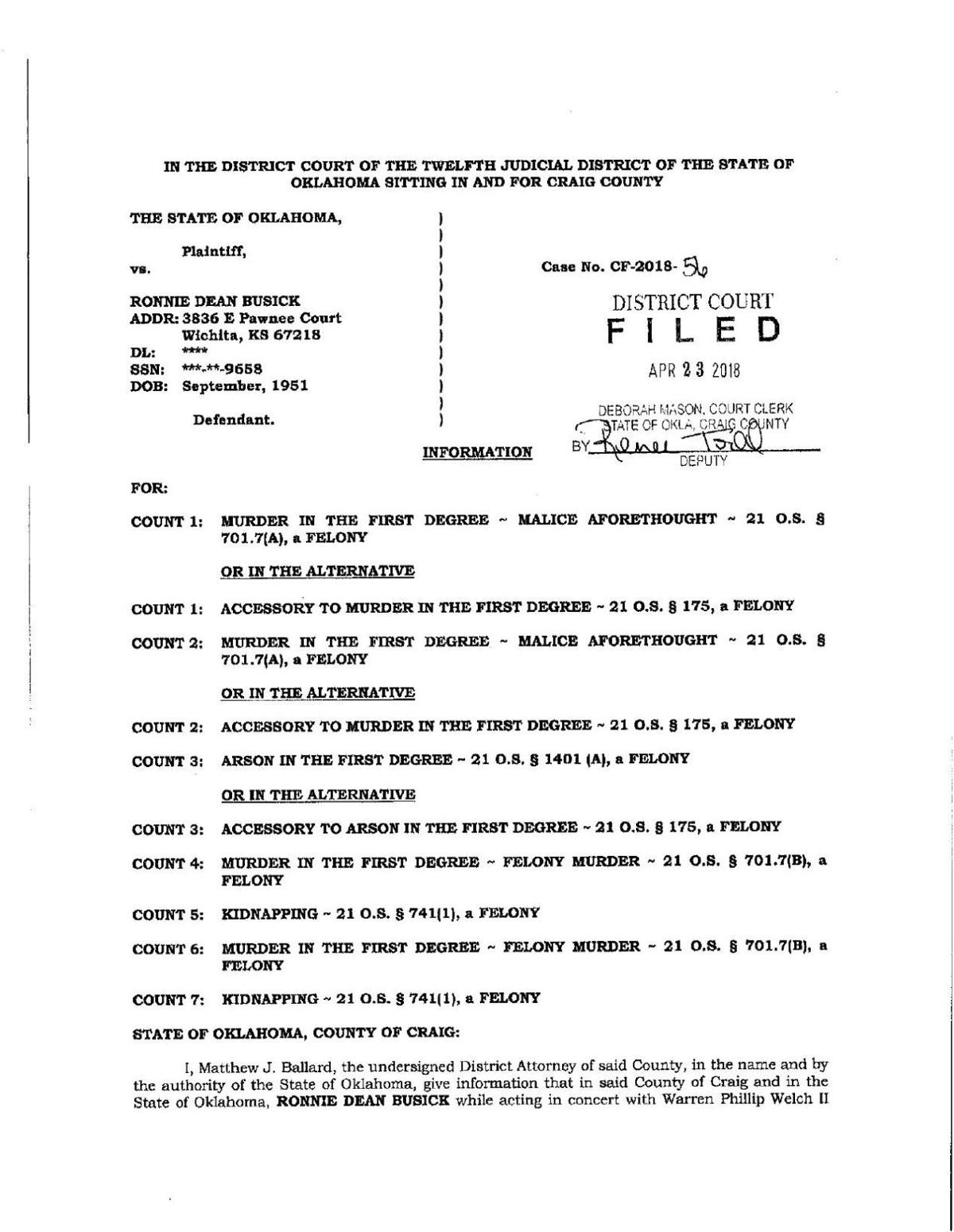 Charges and affidavit in Welch cast