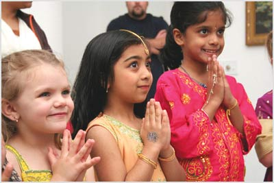 Song and dance archives tulsaworld 6 year old jahnavi nikkam and 7 year old jahnavi gattu practice the greeting for hello which is done by bringing the hands together in indian culture m4hsunfo