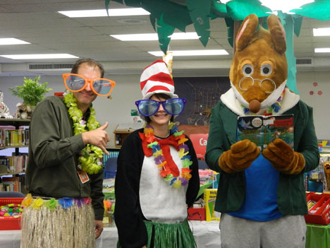 Reading project a hit with kids communities tulsaworld principal richard lock counselor lorrayne mauck and instructor jesse cox geronimo stilton dress up at the northwest elementary book fair altavistaventures Gallery