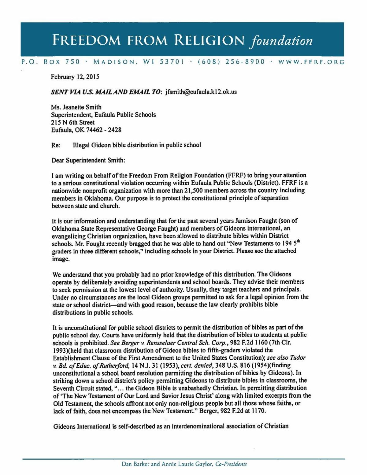 example of freedom from religion foundation u0026 39 s letter to