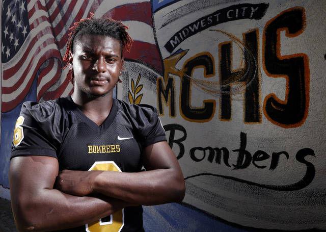 Midwest City high school football player Jalen Redmond newsok
