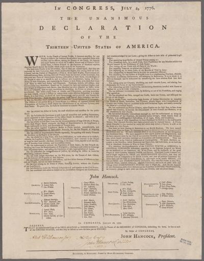 Goddard Broadside Declaration