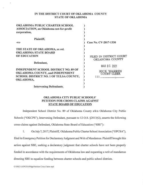 OKCPS petition in Charter School Association lawsuit