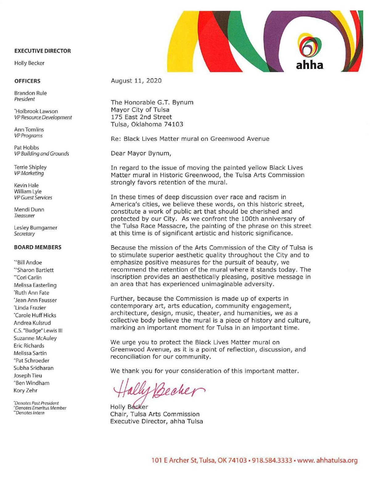 Arts Commission letter to Mayor Bynum, city council in support of the BLM mural