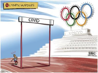 Cartoon: Tokyo Olympic Hurdles by Dave Whamond