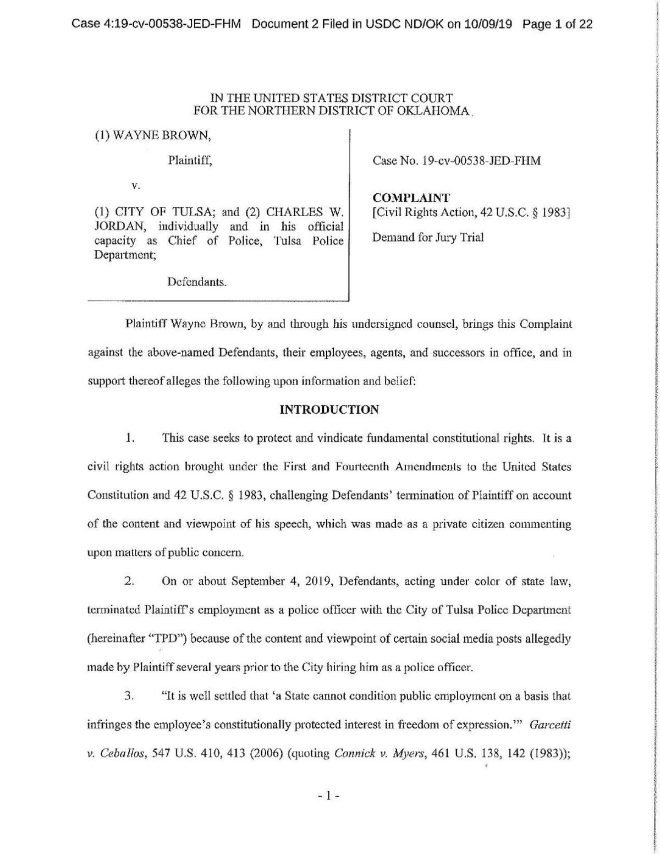 Wayne Brown v. City of Tulsa et al