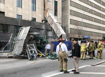 Four workers injured when scaffolding elevator collapses at