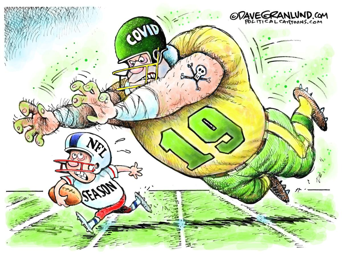 Syndicated Cartoon: NFL Season vs COVID-19 by Dave Granlund