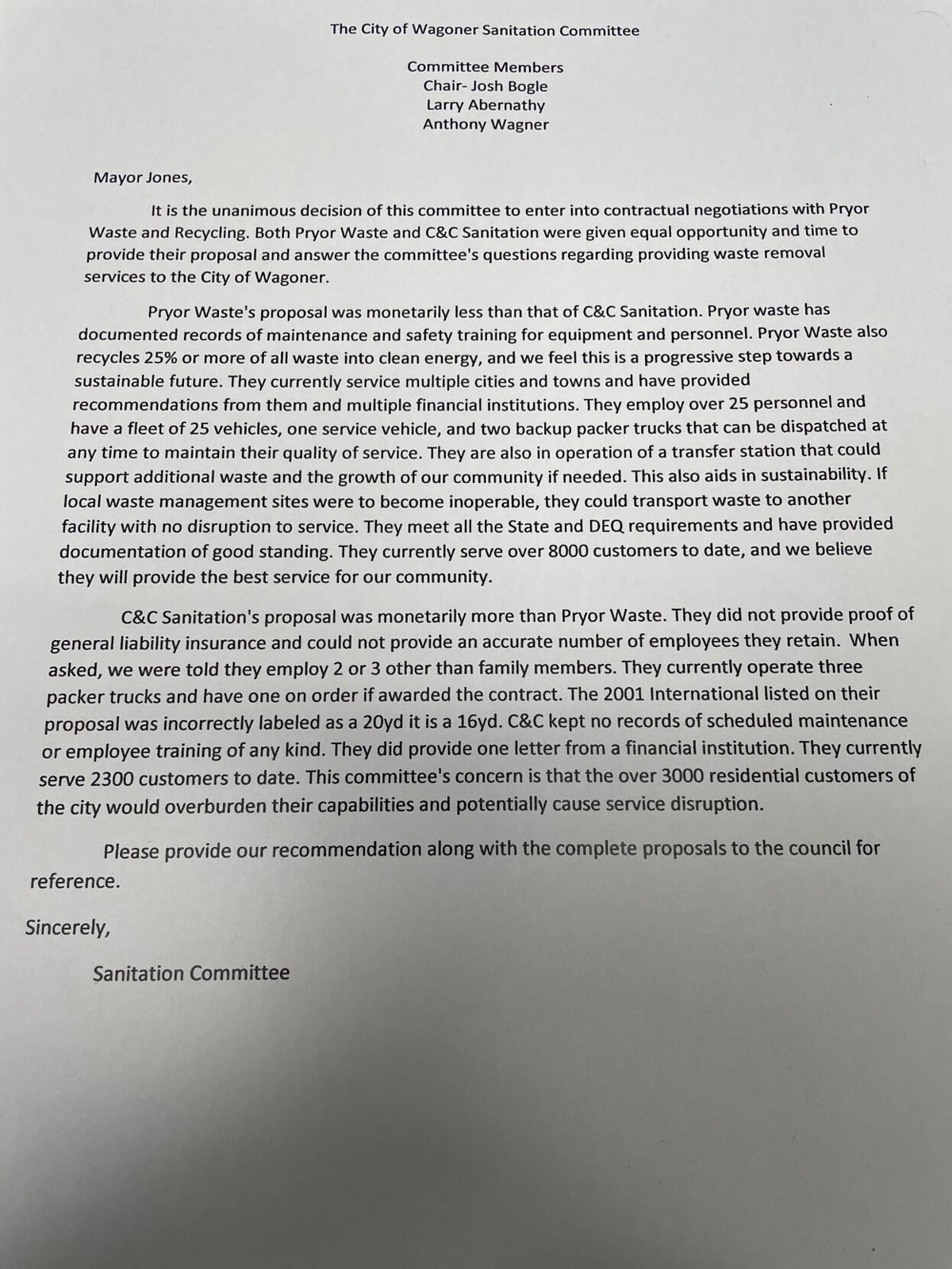 Sanitation committee letter
