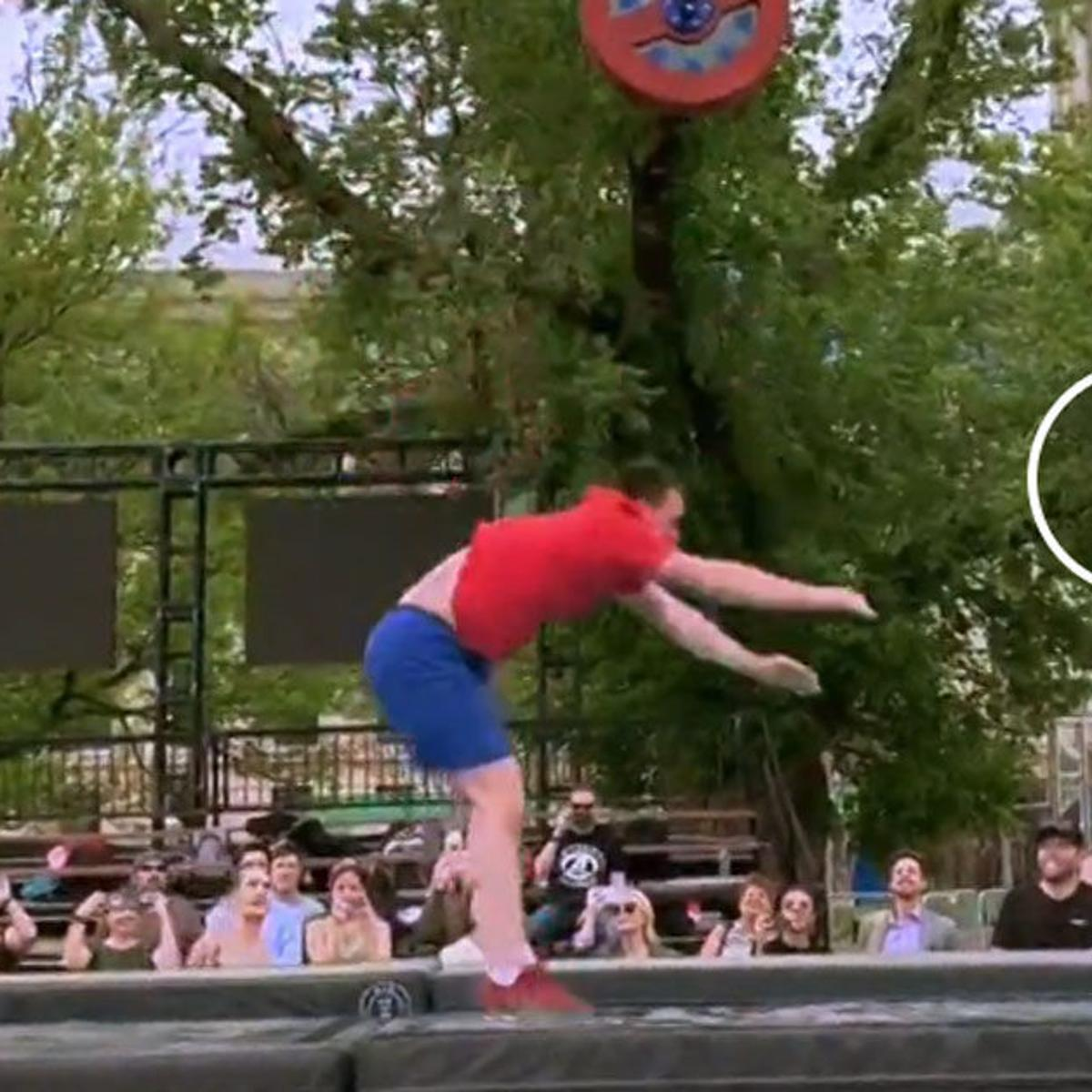 Video: Gov  Stitt tries American Ninja Warrior course during last